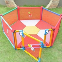 6 PANEL PLAY PEN WITH GATE + MATTRESS