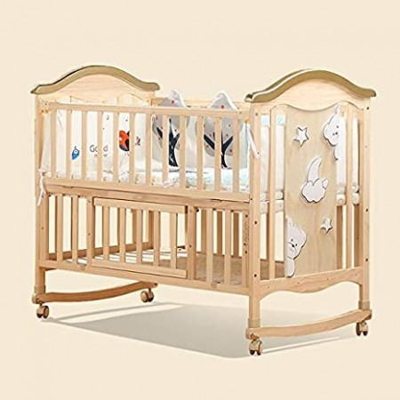 BABY WOODEN COT WITH ROCKER