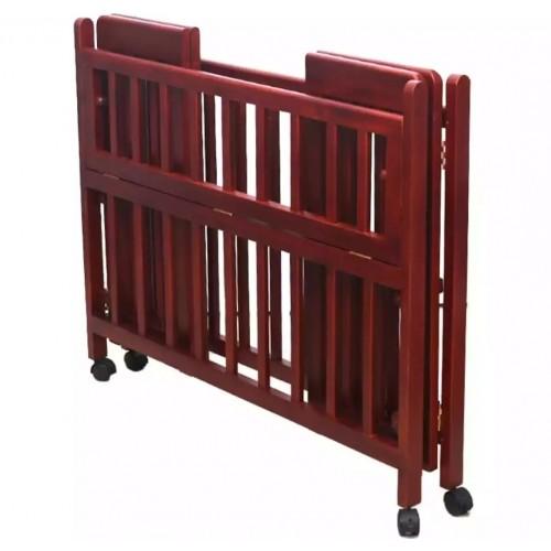 Baby Wooden Cot Foldable - Mahogany