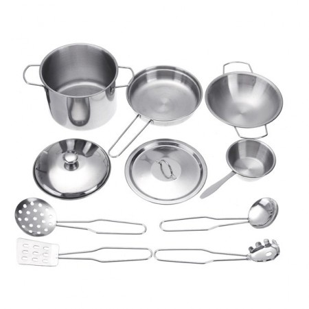 10-Piece Metal Cookware Play Set