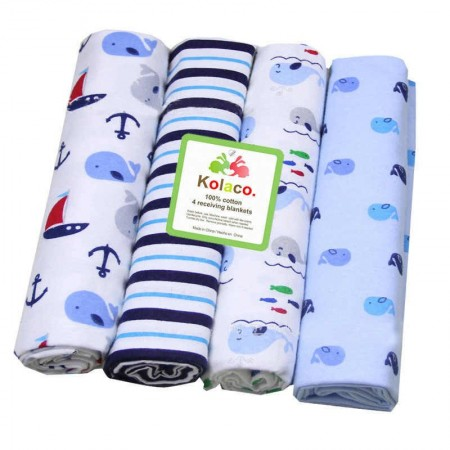 KOLACO BABY RECEIVING FLANNEL BLANKET - 4 PCS PK